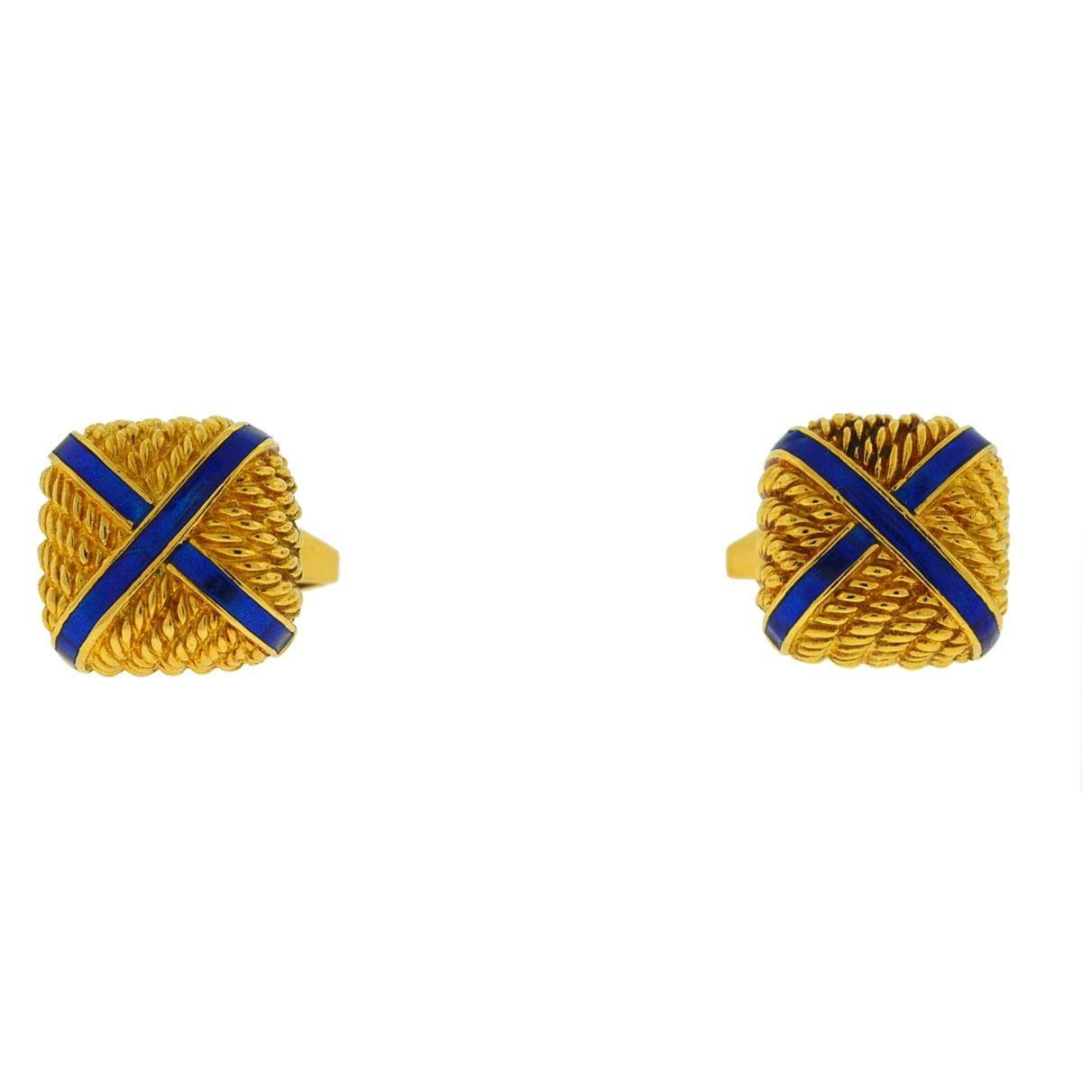 18 Karat Yellow Gold Square with X Blue Enamel Cufflinks
