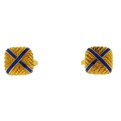 18 Karat Yellow Gold Square with X Blue Enamel Cufflinks