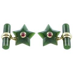 18 Karat Yellow Gold Star Jade and Ruby Cufflinks
