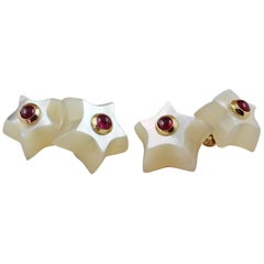 18 Karat Yellow Gold Star Mother of Pearl Ruby Cabochon Cufflinks