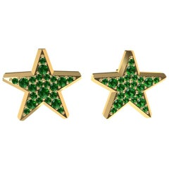 18 Karat Yellow Gold Star Stud Earrings with Emeralds