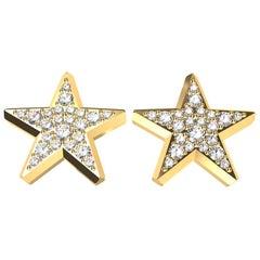 18 Karat Yellow Gold Star Stud Earrings with GIA Diamonds