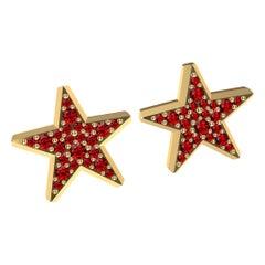 18 Karat Yellow Gold Star Stud Earrings with Rubies