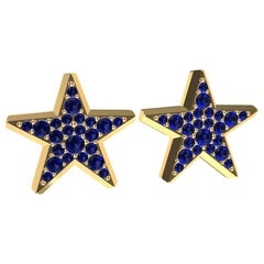 18 Karat Yellow Gold Star Stud Earrings with Sapphires