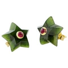 18 Karat Yellow Gold Stars Jade and Rubies Stud Earrings