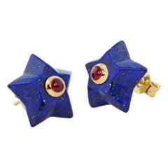 18 Karat Yellow Gold Stars Lapis Lazuli Rubies Stud Earrings