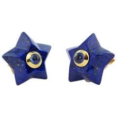 18 Karat Yellow Gold Stars Lapis Lazuli Sapphires Stud Earrings