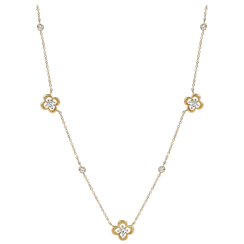 18 Karat Yellow Gold Station Diamond Flower Necklace 0.75 Carat Total