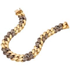 Bulgari  18 Karat Yellow Gold Steel Groumette Bracelet