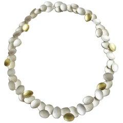 18 Karat Yellow Gold Sterling Silver Combination Petal Disc Choker Necklace