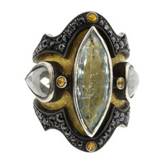 18 Karat Yellow Gold, Sterling Silver, Diamond and Aquamarine Medieval Ring