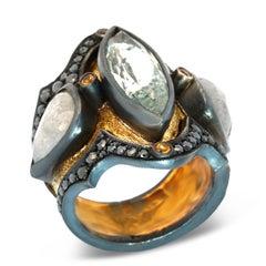 18 Karat Yellow Gold, Sterling Silver, Diamond and Aquamarine Medieval Ring