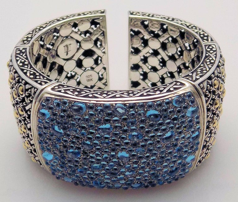Stunning John Hardy Cuff Bracelet in 18 Karat Yellow Gold/Sterling Silver Featuring Jaisalmer Aquamarines in Oval  and Round Cabochon is 1.5