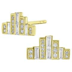 18 Karat Yellow Gold Stud Diamond Earrings