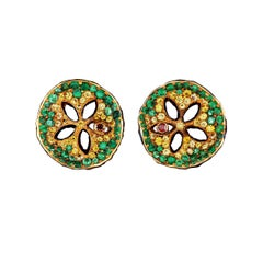 18 Karat Yellow Gold Stud Earrings with Diamonds Tsavorites and Yellow Sapphires