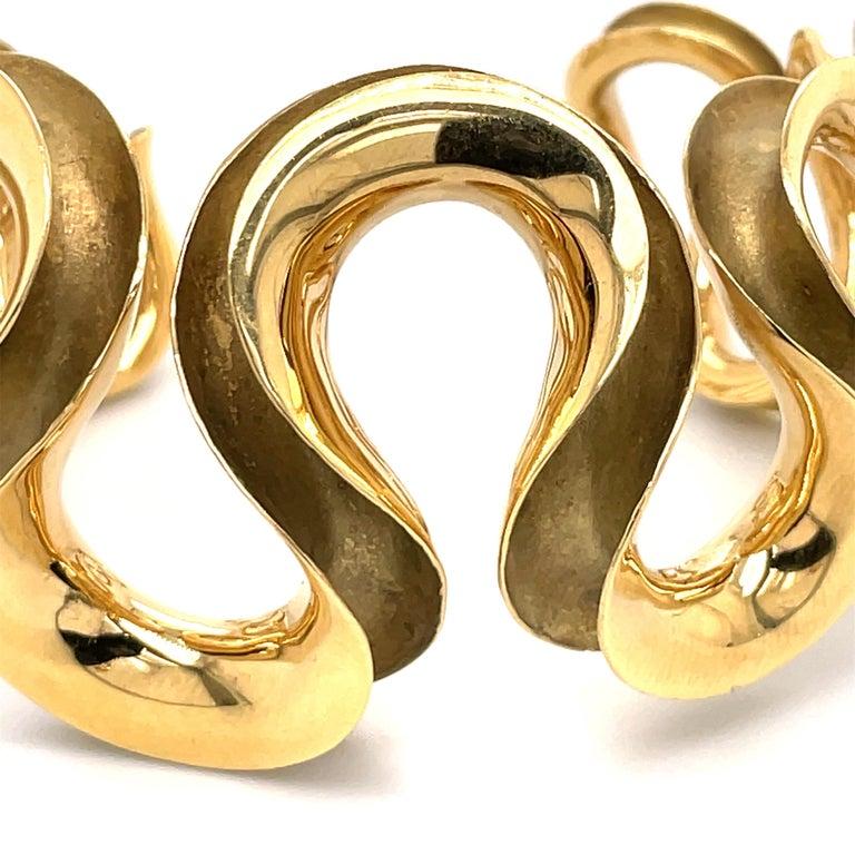 Women's 18 Karat Yellow Gold Swirl Cuff Bangle 47.6 Grams For Sale