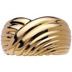 18 Karat Yellow Gold Swirl Cuff Bracelet