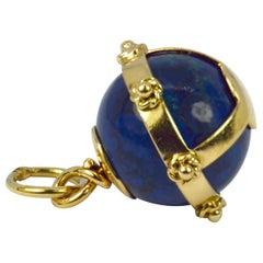 18 Karat Yellow Gold Swiss Lapis Sphere Charm Pendant