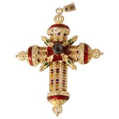 18 Karat Yellow Gold, Tahitian Pearl and Multicolored Enamels Pendant Cross