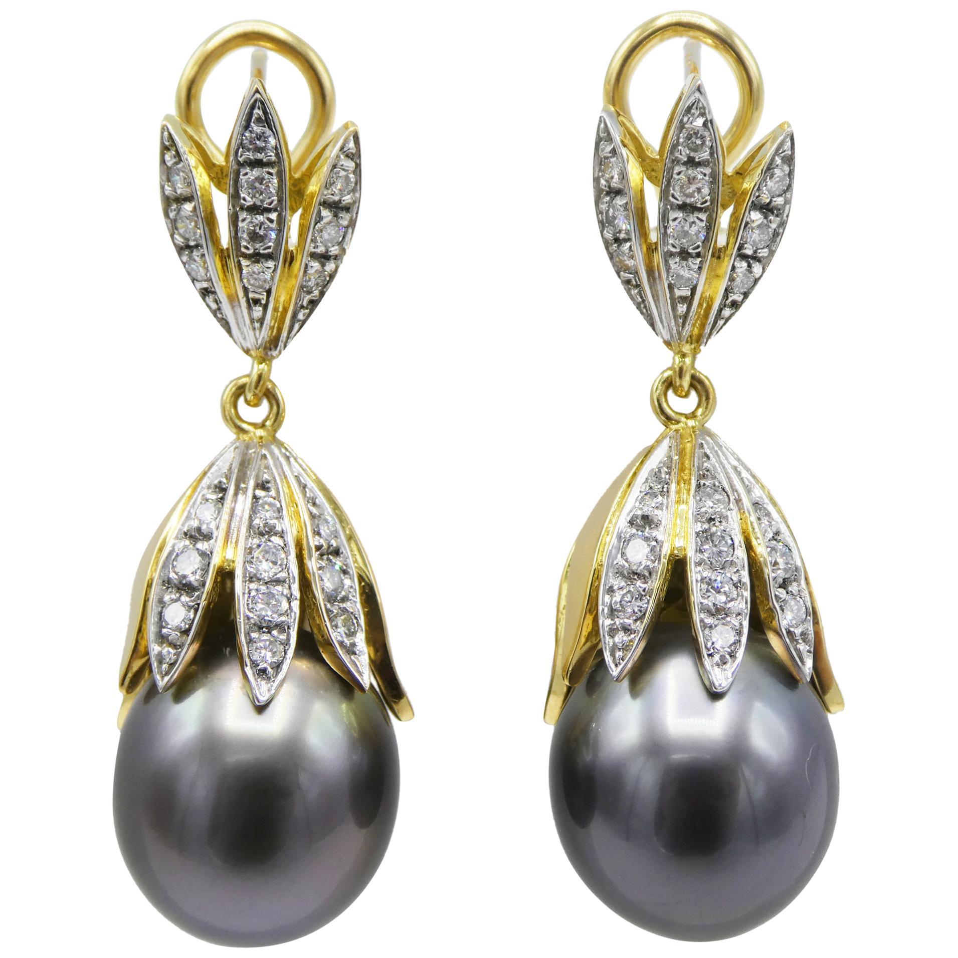 18 Karat Yellow Gold Tahitian Pearl and Diamond Dangle Drop Earrings