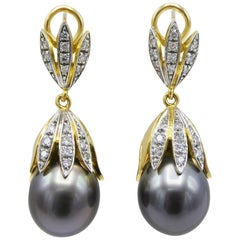 18 Karat Yellow Gold Tahitian Pearl and Diamond Dangle Drop Earrings