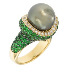 18 Karat Yellow Gold Tahitian Pearl Tsavorite Diamond Ring