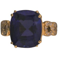"18 Karat Yellow Gold, Tanzanite ""10.91 Carat"" and Diamond ""1.07 Carat"" Ring"