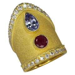 18 Karat Yellow Gold Tanzanite Ruby Diamond Pointy Ring in Byzantine Style