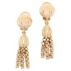 18 Karat Yellow Gold Tassel Clip On Earrings