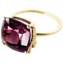 18 Karat Yellow Gold Tea Contemporary Ring with Red Tourmaline