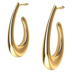 18 Karat Yellow Gold Teardrop Hollow Hoop Earring