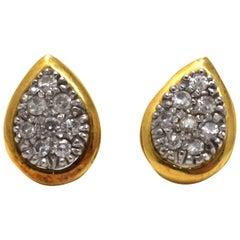 18 Karat Yellow Gold Teardrop Shaped Old Mine Diamond Stud Earrings