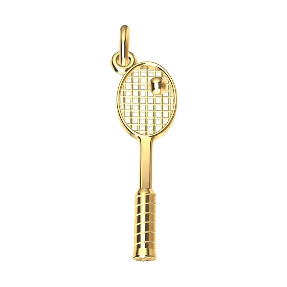 18 Karat Yellow Gold Tennis Racket Charm