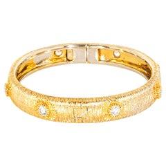 18 Karat Yellow Gold Textured Diamond Bangle Bracelet