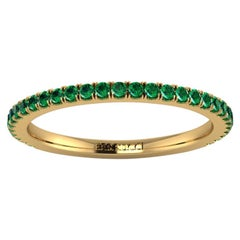 18 Karat Yellow gold Thin Emerald Pavé Stackable Band Ring
