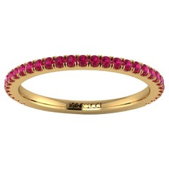 18 Karat Yellow Gold Thin Ruby Pavé Stackable Band Ring