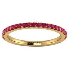 18 Karat Yellow Gold Thin Ruby Pavé Stackable Band Ring