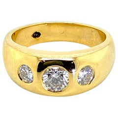18 Karat Yellow Gold Three Diamond Gypsy Set Ring