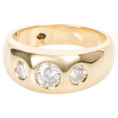 18 Karat Yellow Gold Three Diamond Gypsy Set Ring