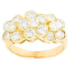 18 Karat Yellow Gold Three Flower Diamond Ring