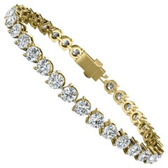 18 Karat Yellow Gold Three Prongs Diamond Tennis Bracelet '10 Carat'