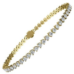 18 Karat Yellow Gold Three Prongs Diamond Tennis Bracelet '4 Carat'