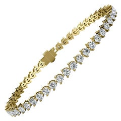 18 Karat Yellow Gold Three Prongs Diamond Tennis Bracelet '5 Carat'