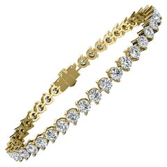18 Karat Yellow Gold Three Prongs Diamond Tennis Bracelet '7 Carat'