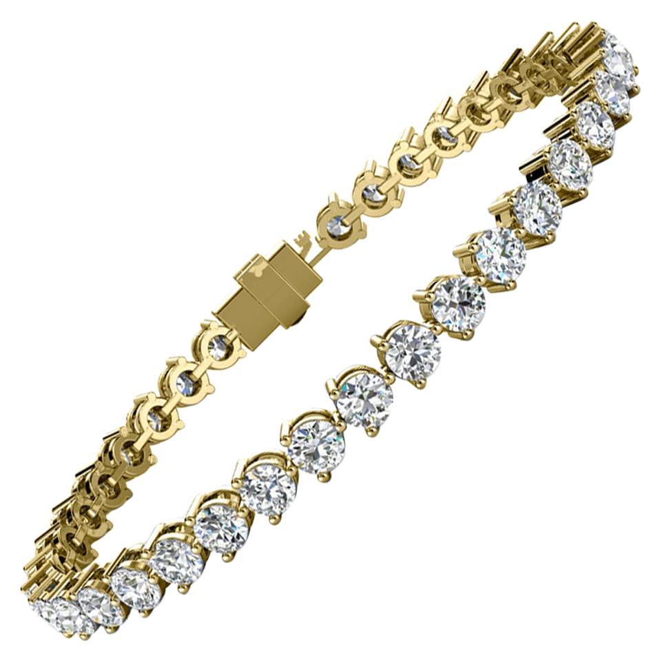 18 Karat Yellow Gold Three Prongs Diamond Tennis Bracelet '8 Carat'