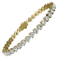 18 Karat Yellow Gold Three Prongs Diamond Tennis Bracelet '8 Carat'