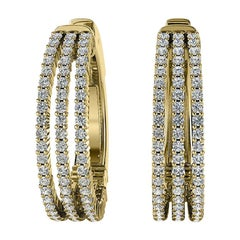 18 Karat Yellow Gold Three-Row Hoop Diamond Earrings '1 1/2 Carat'
