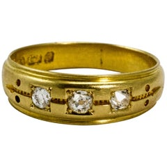 18 Karat Yellow Gold Three Stone Diamond Gypsy Ring, circa 1880