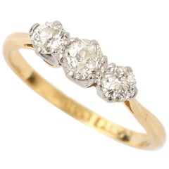 18 Karat Yellow Gold Three-Stone Old Mine Cut Diamond 0.51 Carat Ring