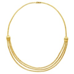 18 Karat Yellow Gold Three-Strand Bib Necklace